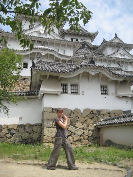 A particular favourite of mine, posing in front of Himeji-jo, an awesome 17th Century castle  in Japan. Used as the location for the Ninja training school in You Only Live Twice {1967}