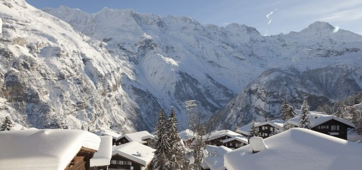 Murren, Switzerland, snow, mountains