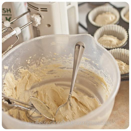 divide the sponge batter into the cake cases