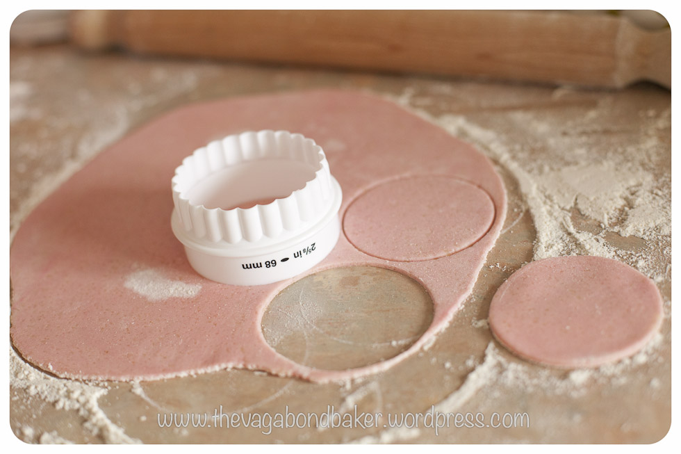 cut circles from the rolled out marzipan to fit the cakes