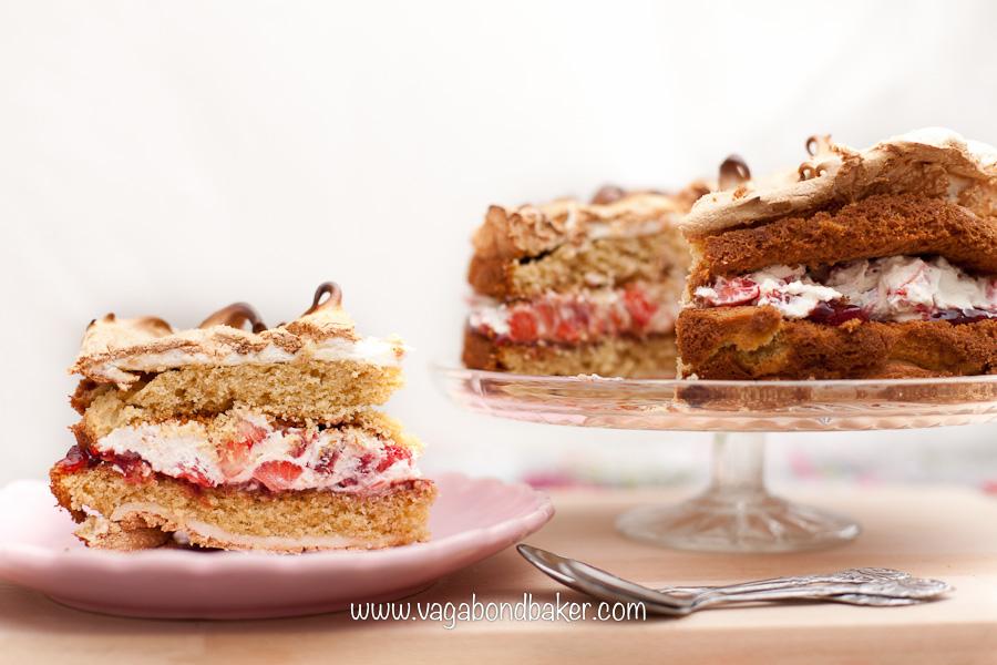 Strawberries and Cream Meringue Cake   Vagabond Baking-15