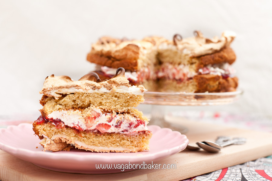 Strawberries and Cream Meringue Cake   Vagabond Baking-16
