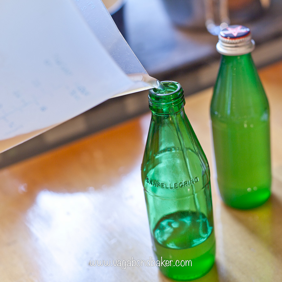 decant into sterilised bottles