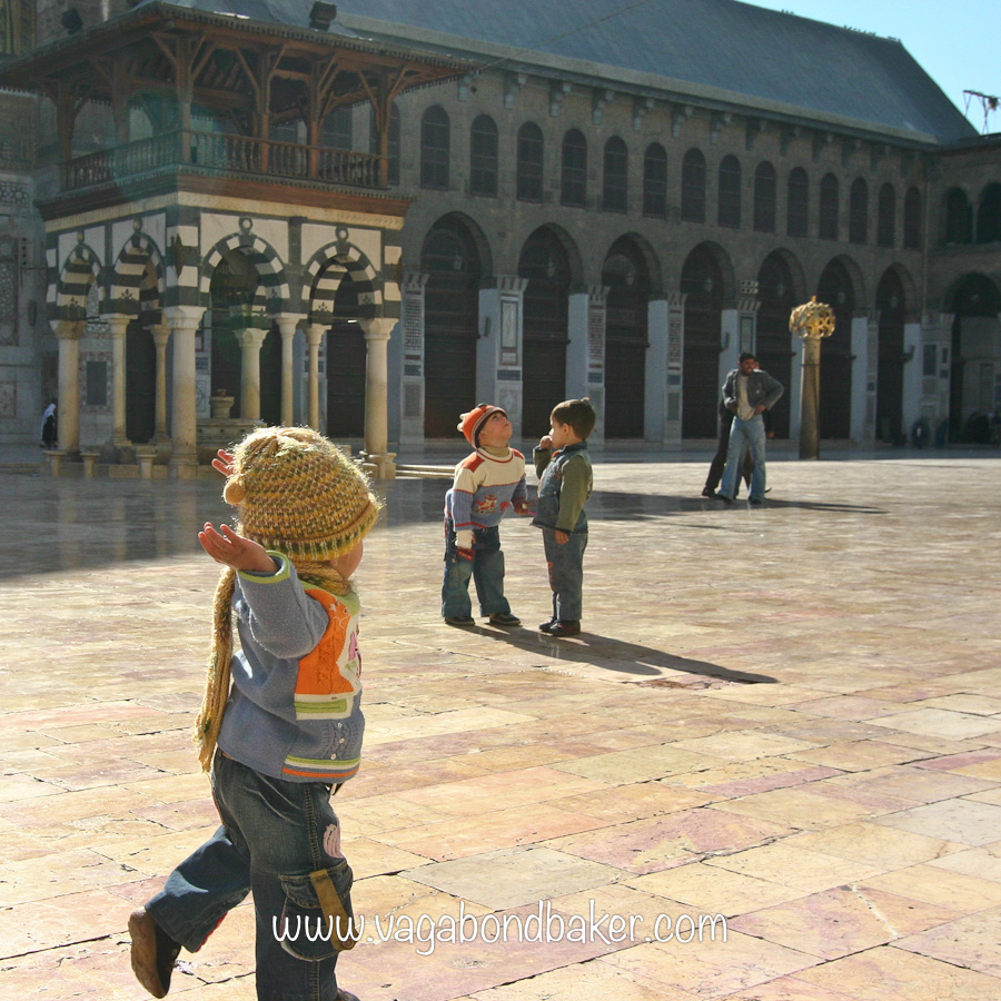 Children play in the winter sunshine, Umayyad Mosque