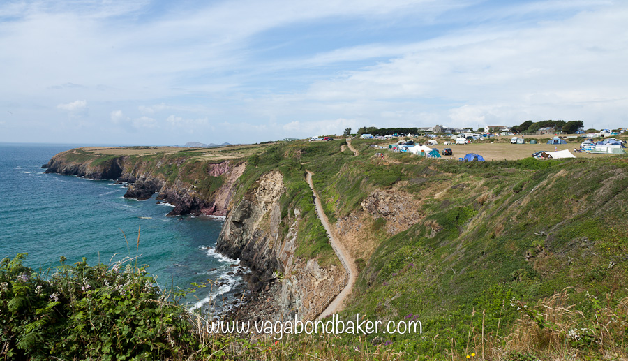 Pembrokeshire Coastal Path and the campsite we stayed on