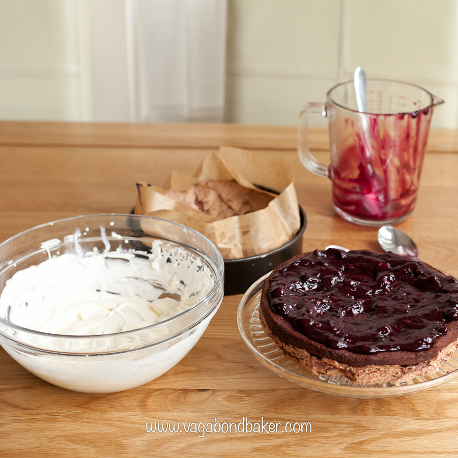 Chocolate Meringue Cake with Blueberry Compote | Vagabond Baking