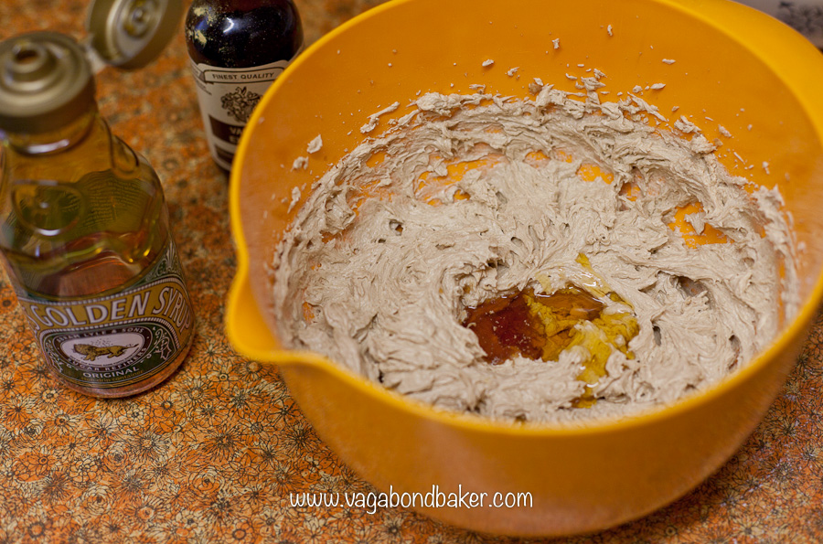 Add the syrup and vanilla to the creamed butter and sugar after the eggs.