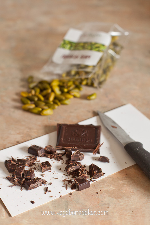 Chop the rest of the chocolate and the pistachios