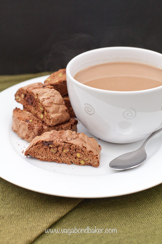 Chocolate and Pistachio Biscotti - Vagabond Baker