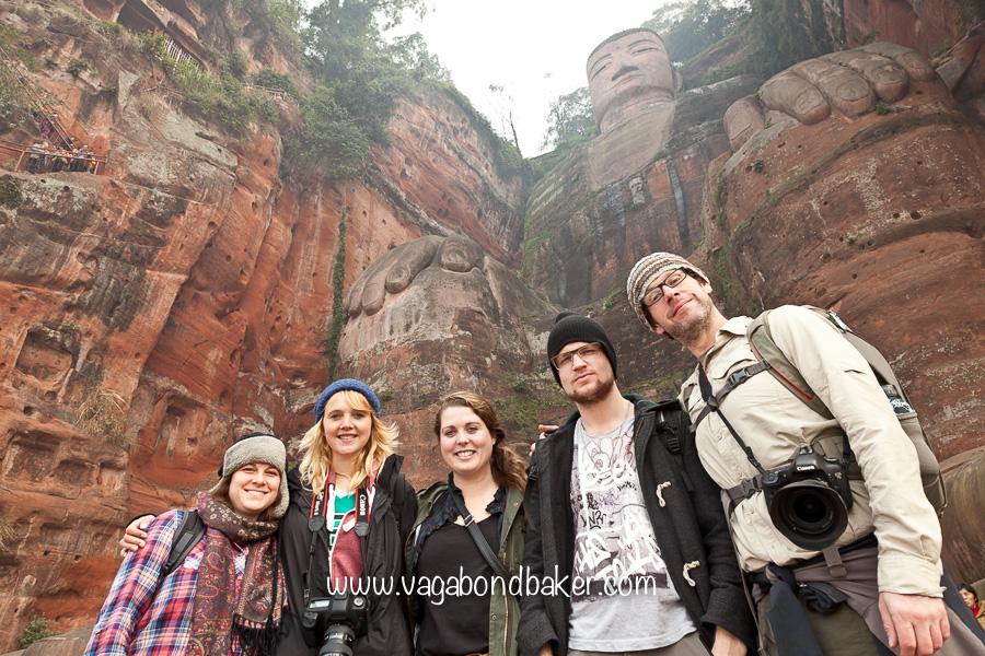 Yay! Travel friends at Buddha's mighty feet.