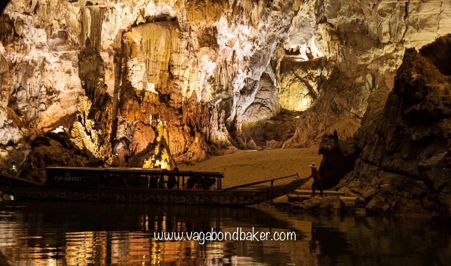 A small beach inside the Phong Nha Cave