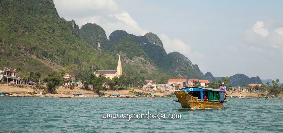 Taking a boat to Phong Nha Cave along the Son River