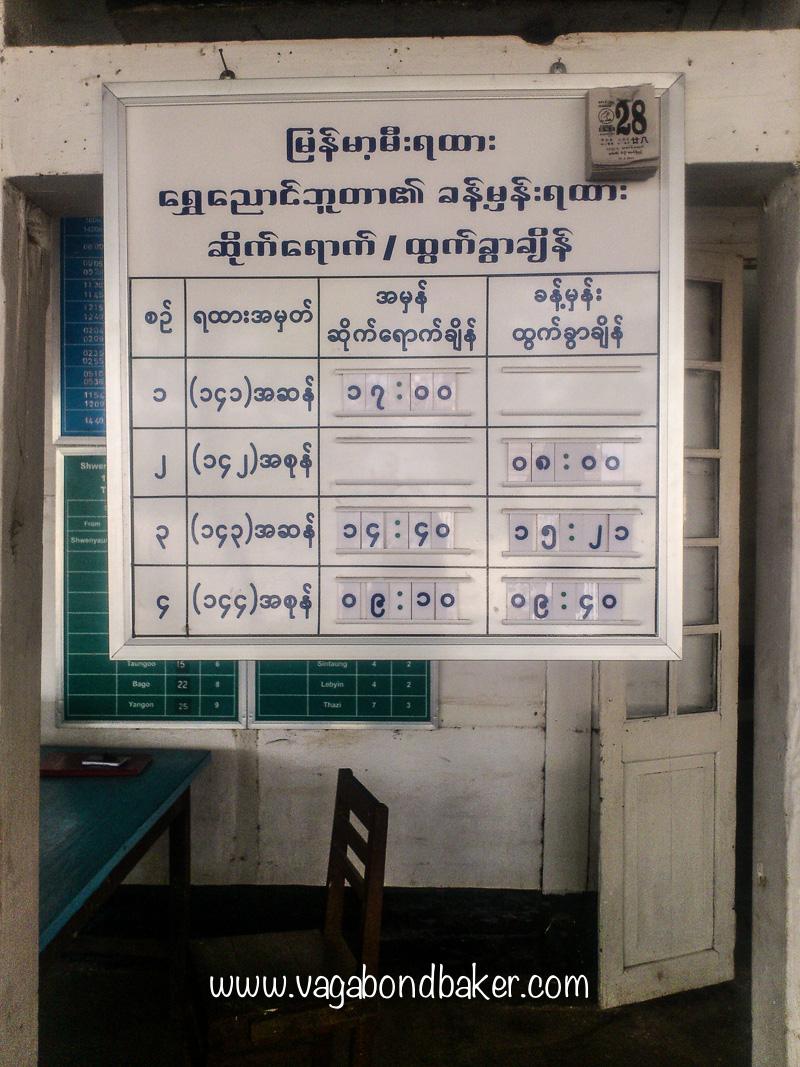 Timetable at Shwenyaung Station