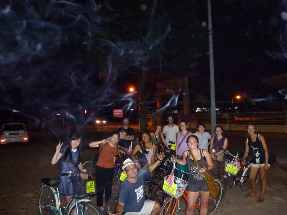 The cycle party heads out. the random local who took the photo had a ciggy in his hand as he took it, hence the ethereal smoke!