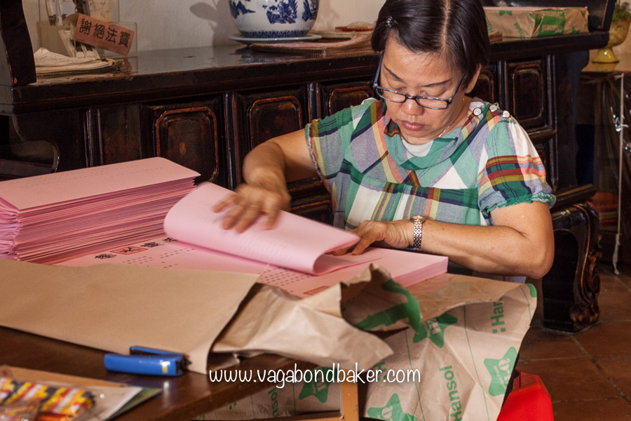 Folding papers in the temple