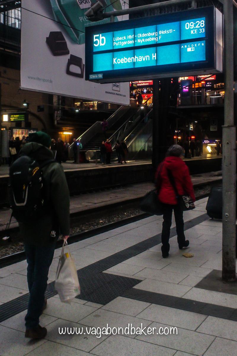 Hamburg Station, by train to Copenhagen
