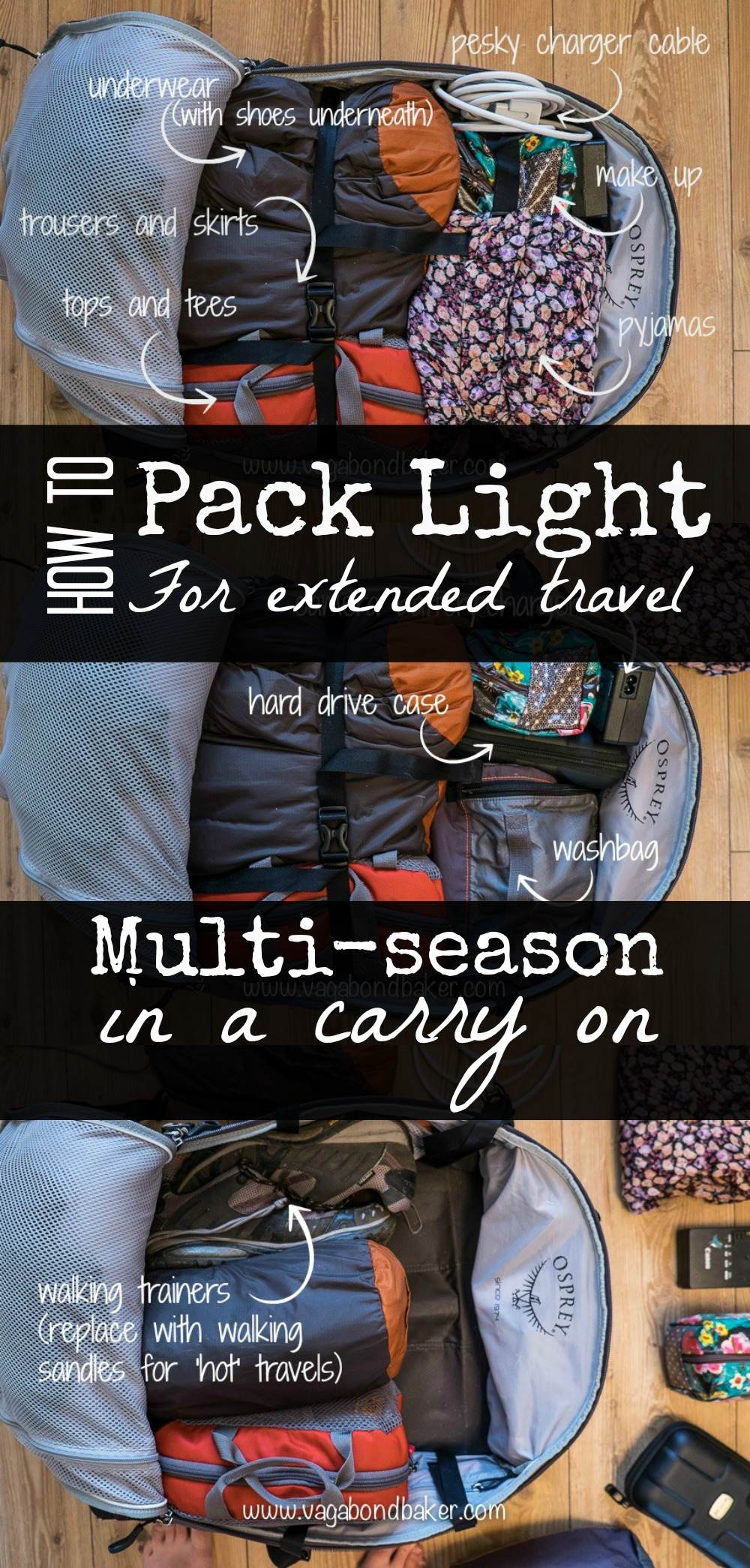 How to Pack Light For Extended Travel // Carry on