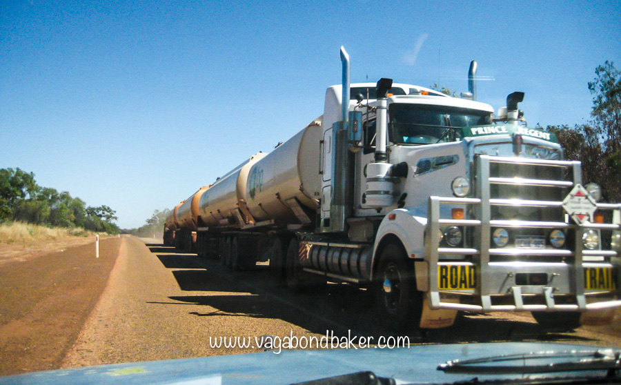 Mammoth roadtrains thunder along the roads out here!