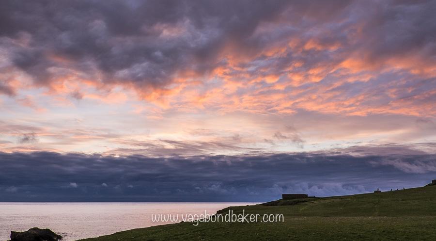 Midsummer sunrise at the old RAF Skaw base, Unst