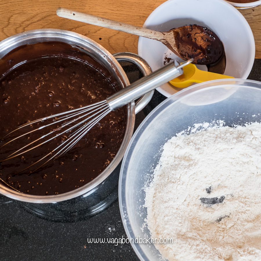 Beat in the sour cream, eggs and vanilla