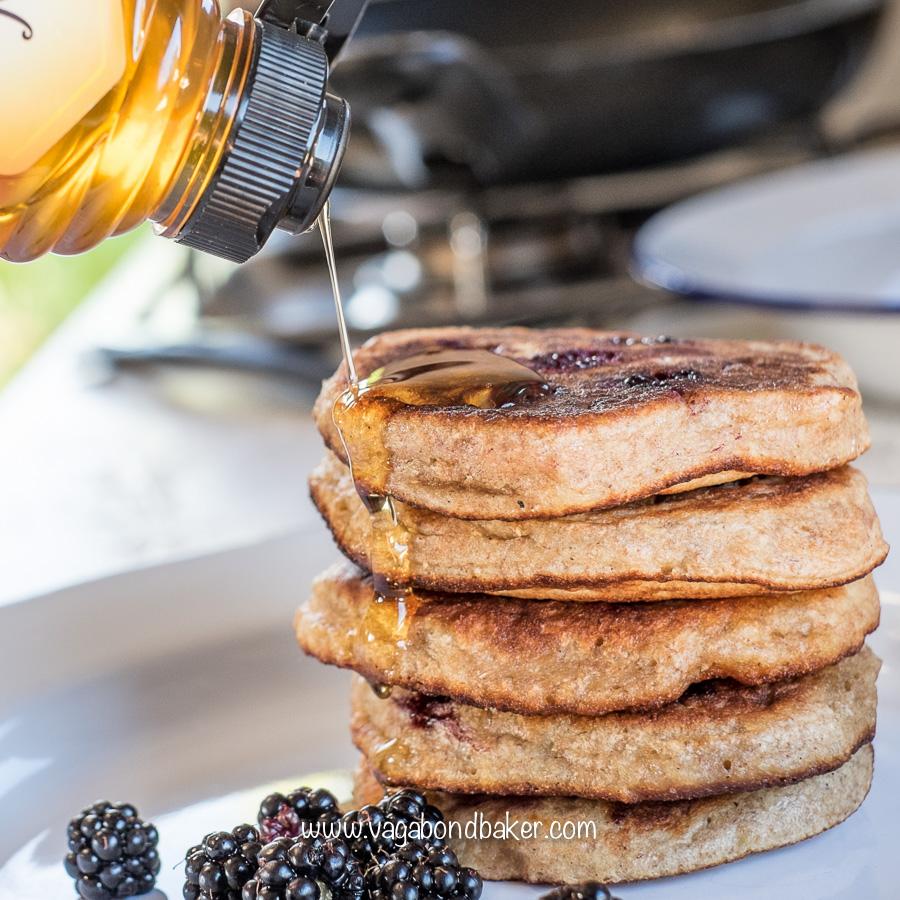 Banana spelt blackberry pancakes